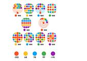 Différents jeux avec des boules colorées